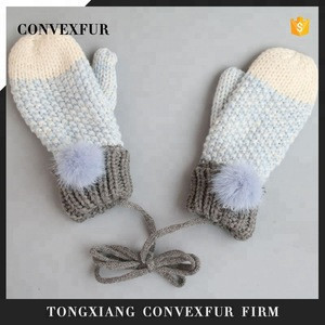 100% cotton knitted mittens for kids children winter fur pompom gloves
