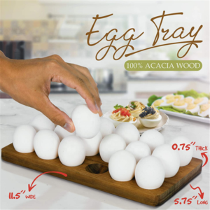 Chicken Coop Egg Tray Rustic Wooden Egg Holder For 18 Eggs Usable in Kitchen Refrigerator