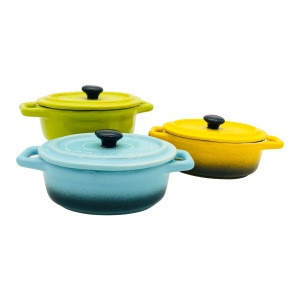 Colorful ceramic ramekin with lid stoneware souffle dish mini casserole with lid