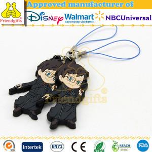 Custom made anime figurine rubber pvc mobile phone strap