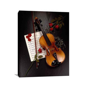 Elegant decorative pictures red rose print photo beautiful violin and flowers painting