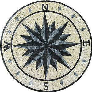 Handmade Natural Art Compass Rose Shape Mosaic Tile With Nautical Medallion Stone Marble Flooring Colors