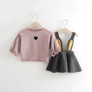 Hot Sale 2-Piece Fashionable Solid Heart Blouse And Bunny Ear Suspender Skirt Set For Baby Girl