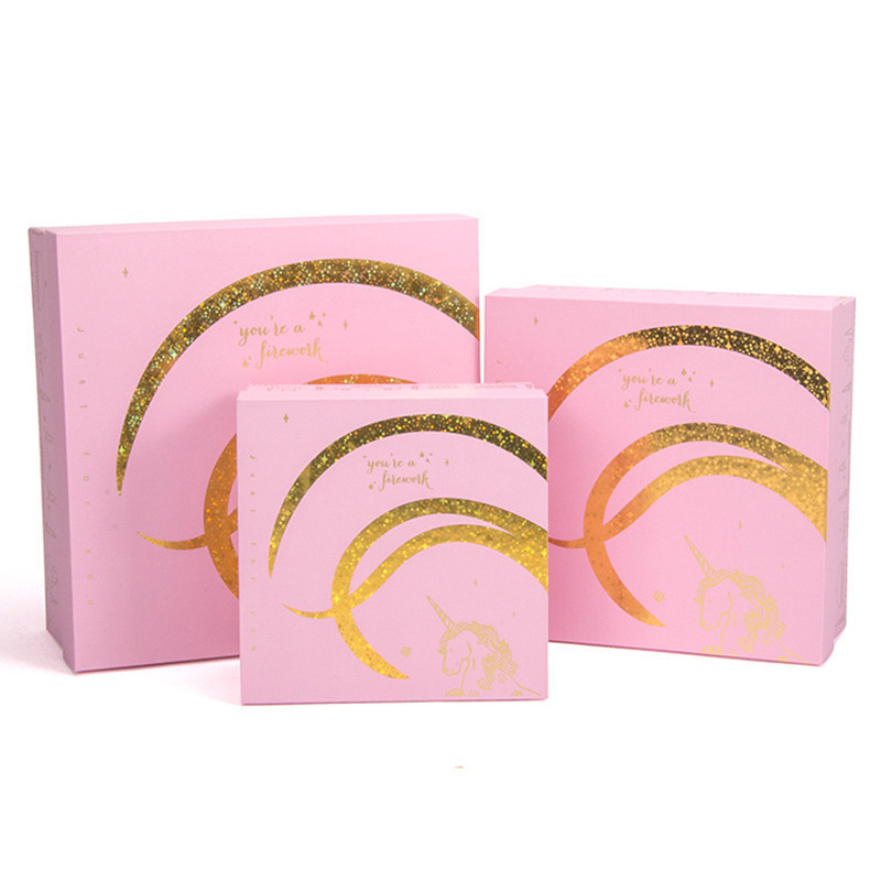 Luxury Gold Stamping Unicorn Design Custom Colour Paper Box Square Packaging Box For Gift