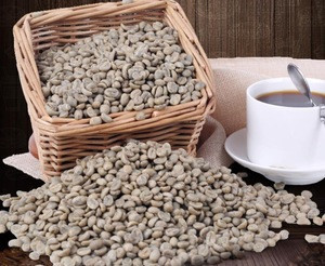 Natural dried raw Coffee beans unprocessed Coffea arabica seeds java, joe for beverage