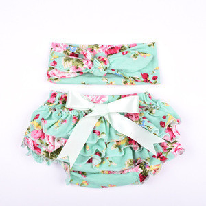 New baby aqua floral cotton underwear and headband set cute baby panties