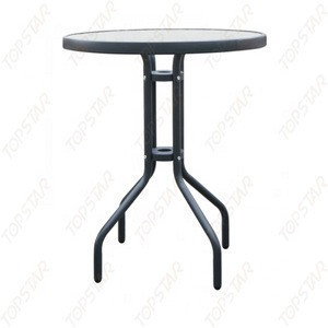Small round glass top patio garden table with indoor outdoor