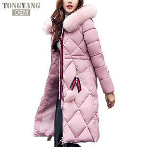 TONGYANG Big fur winter coat thickened parka women stitching slim long winter coat down cotton ladies down parka down jacket