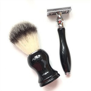 Wholesale Gift Set Metal Resin Handle Double Edge Razor Blades Men Beard Brush