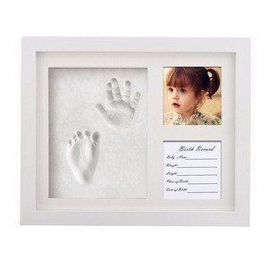 Wholesale Solid Wood Newborn Baby Handprint Photo frame Baby footprint Clay Photo Frame for Kids