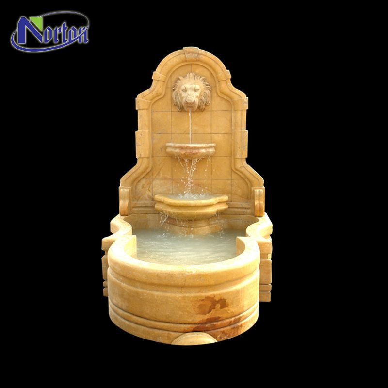 Custom modern classic marble carved outdoor home garden decor yellow stone lion wall fountain
