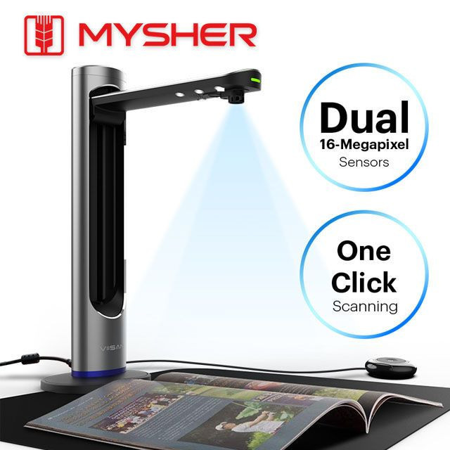 Dual-16MP, A3 Size Professional Document & Book Scanner With The Laser Positionin, Book Scan, Powerful OCR.