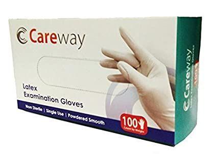 Careway Latex Medical Examination Disposable Hand Gloves, White