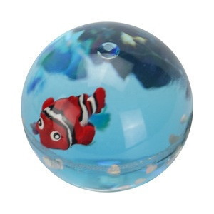 45mm Plastic TPU Promotion Gifts Ocean Park Nimo Fish Sparkle Shining Glitter Sequin Floating bouncing ball with liquid water