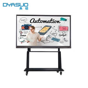 65 75inch All in one OPS smartboards Wall Mounted Sliding electronic IR multi touch screen interactive whiteboard for school