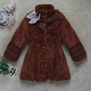 Best selling high quality long winter fur children's coats 4-12y