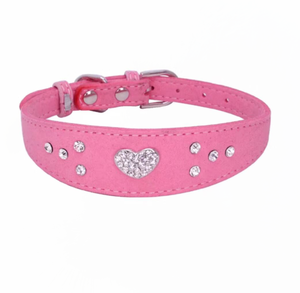 Bling leather rhinestone collar  diamond studded beaded dog collars