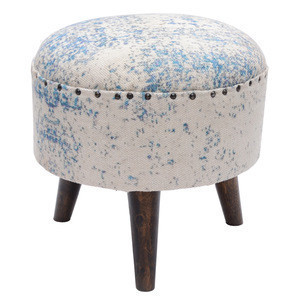 Cotton printed multi-color rug upholstered wooden round stool ottoman