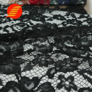 Europe black net floral poly cloth cord lace fabric for wedding dress