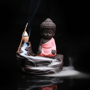 Home Decor Christmas Gift The Lovely Little Monk Small Buddha Incense Censer Backflow Incense Burner for Home Office Teahouse