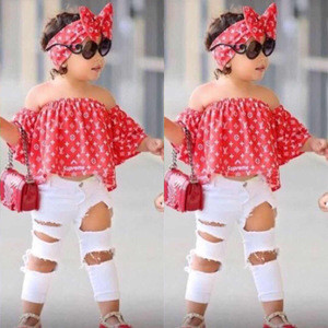 Kids clothing  hot selling models girls red word shoulder shirt + hole jeans + headwear three-piece factory direct sale