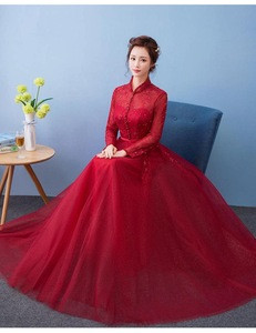 Latest Long Sleeve High Neck Lace Tulle Bridesmaid Dress