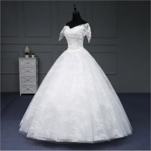 LSA1167 wedding dress luxury short sleeve saudi arabian wedding dress