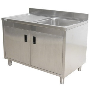 OEM Size Kitchen Sink Cabinet with Doors 304Stainless Steel One Compartment Sink Work Bench Cabinet with Drainboard Factory