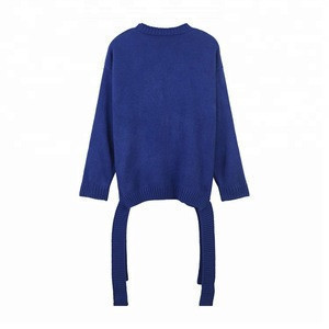 Personality design casual button down sweater with waistband korean cardigan women