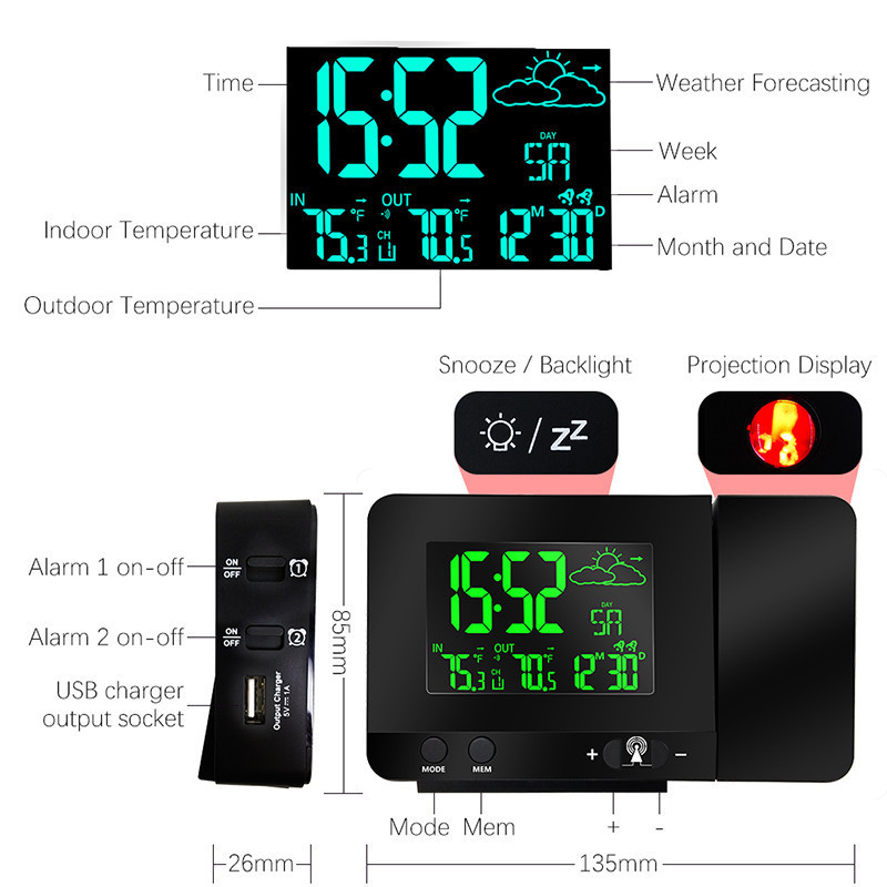 Projection Alarm  RCC Clock super CE Weather Station PT3531B with outdoor Temperature Sensor showing thermometer hygrometer