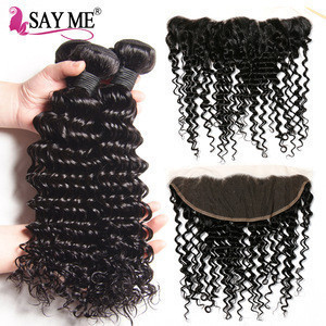Say me 3bundles + closures kinky curly double tape hair extensions brazilian kinky curly remy hair weave human hair kinky curly
