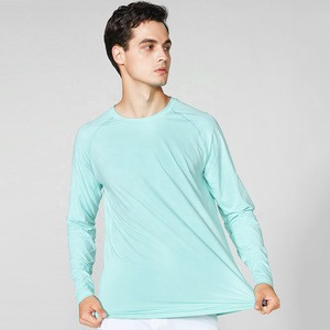 Solid color mens long sleeve cool wear moisture wicking UV protective spf mens dry fit long sleeve t shirt for fishing