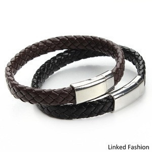 Stock Fashion Cuff Accessories Magnetic Clasp Mens Leather Bracelets Wholesale