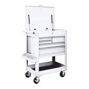 U.S. GENERAL 30 In. 5 drawer tool cart, white mechanic tool chest cabinet
