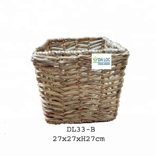 Vietnam wholesale handmade seagrass craft wicker home derco rattan houseware woven storage water hyacinth planting basket