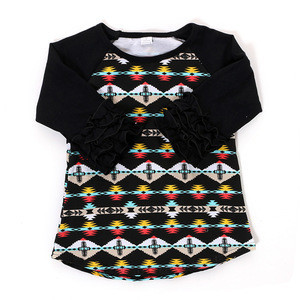 Wholesale Kids Clothing Black Ruffle Casual T-shirt Baby Girl Tops
