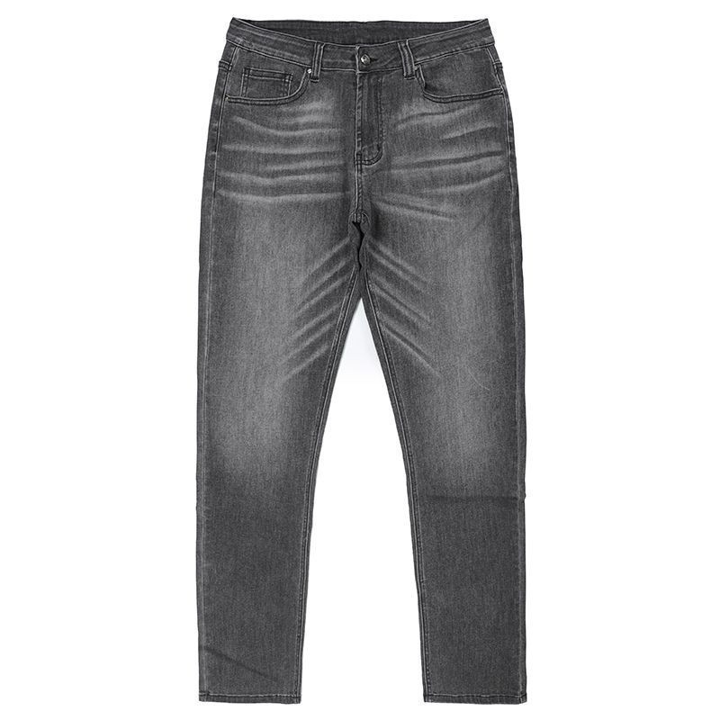Wholesale price men jeans with monkey wash whisker grey color