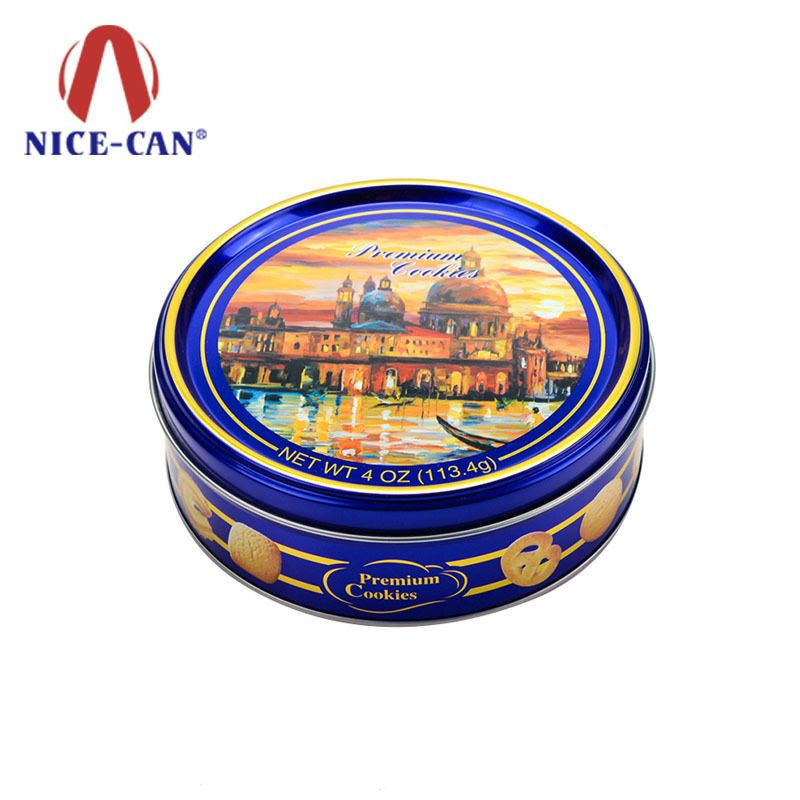 Custom print empty round danish butter cookie tin box with factory price