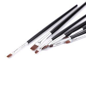 Cheap Sale 7PCS Black Wood Handle Gel Nail Paint Brush Set