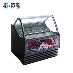 Commercial Store Dining Room Display Freezer Double Hollow Glass Ice Cream Showcase