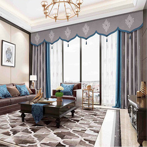 Custom ready made modern european jacquard style blackout window covering curtains for the living room with valances