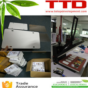 For heat press machine printing , Sublimation Aluminum Car License Plate blank car number plate