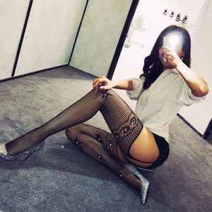 Hot Sexy Mesh Women Lady Fishnet Sexy stocking Fine net Front and rear open pantyhose with shiny diamonds