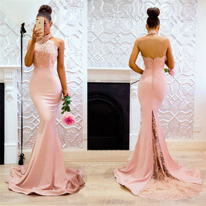 In stocks latest women sexy backless  pencil dress satin evening dress for party