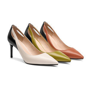 Italian Shoes 8cm heeled Women Genuine Leather Back Sexy Pointed toe High Heels