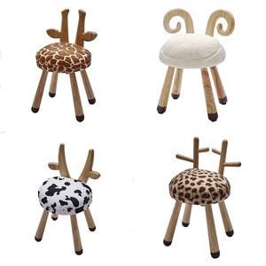 Kids bedroom decorative furniture wooden cute sheep cow giraffe sika deer animal shape chair