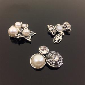 Korean retro bow tray bridal headdress flower plate button metal pearl button