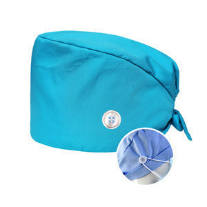 Latest Hot Sale Scrub Hats With Sweatbands And Buttons with button