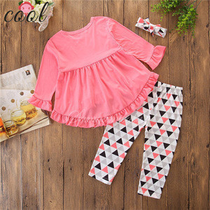 Long skirt  trousers and headwear with Irregular ruffle + digital print 3Pcs ruffle girls clothing set