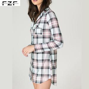 Long Sleeve Ladies Plaid Nightshirt Thermal
